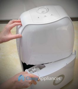 opening portable dehumidifier water tank
